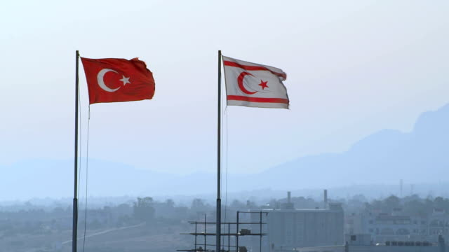 Flags of Turkey and Turkish Republic of Northern Cyprus, Kyrenia, Cyprus