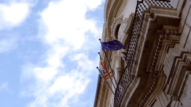 flags of valencia, spain and european union - stock video - flag blowing in the wind stock videos & royalty-free footage