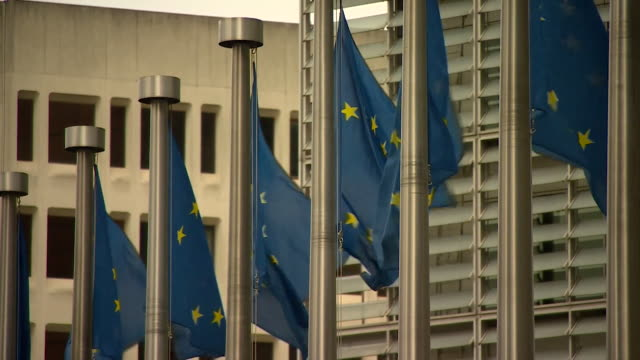 EU flags outside European Parliament in Brussels