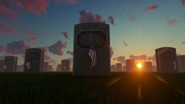 us flags placed in front of graves at us national cemetery at sunset - top hat stock videos & royalty-free footage