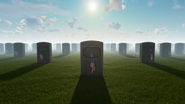 us flags placed in front of graves at us national cemetery - top hat stock videos & royalty-free footage