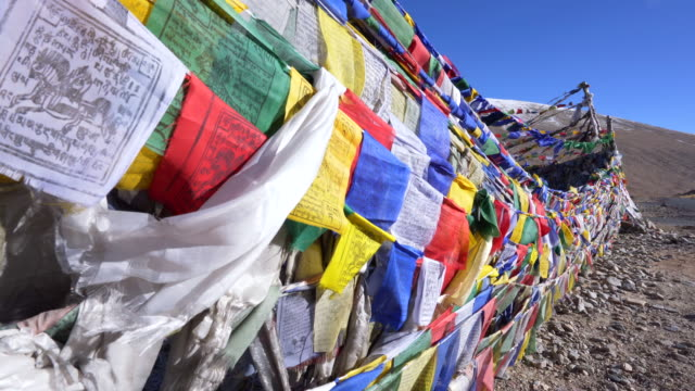 flags prepay of believe people ladakh for buddha and background snow mountain  landscape at leh ladakh district ,norther part of india - buddhism stock videos & royalty-free footage