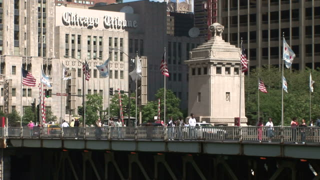 Flags wave along the Michigan Avenue Bridge in Chicago United States