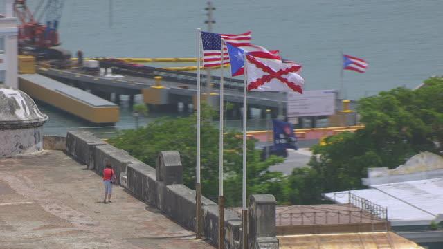 MS AERIAL POV Flags waving on Castillo San Cristobal fortress / Old San Juan, Puerto Rico, United States