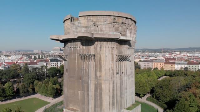 flak tower - augarten park, austria - ドイツ国防軍 空軍点の映像素材/bロール