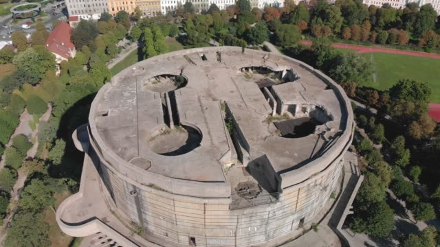 flak tower - augarten park, austria - tower stock videos & royalty-free footage