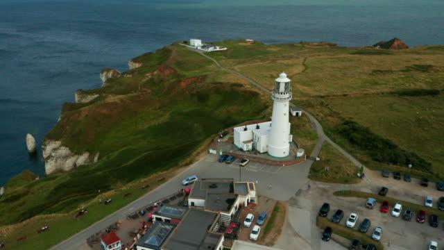 flamborough head lighthouse, flamborough, east yorkshire, england - cape stock videos & royalty-free footage