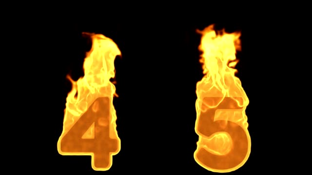 4 - 5 . Flame Burning Fire Alphabet Numbers