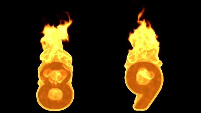 8 - 9. Flamme brennt Feuer Alphabet Zahlen