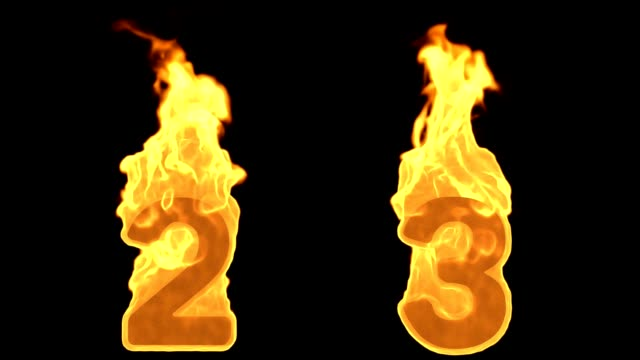 2 - 3 . Flame Burning Fire Alphabet Numbers