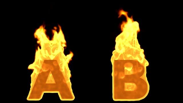 vídeos de stock, filmes e b-roll de a - b. flama ardente fogo alfabeto - perigo
