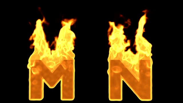 m -n . flame burning fire alphabet - capital letter stock videos & royalty-free footage