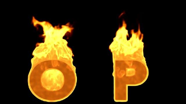 vídeos de stock, filmes e b-roll de o - p. flama ardente fogo alfabeto - o alfabeto