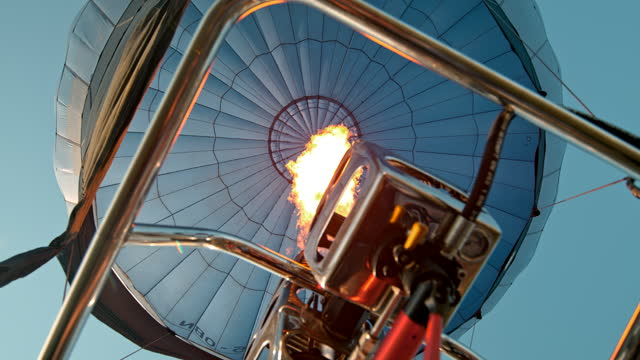 super slow motion flame inflating hot air balloon - 50 seconds or greater stock videos & royalty-free footage