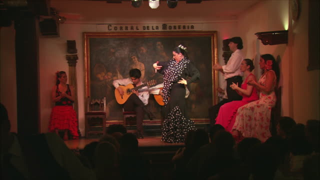 ws flamenco group performing on stage, madrid, spain - flamenco dancing stock videos and b-roll footage