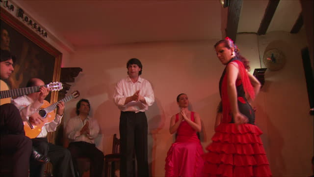 ms la flamenco group performing on stage, madrid, spain - flamenco dancing stock videos and b-roll footage