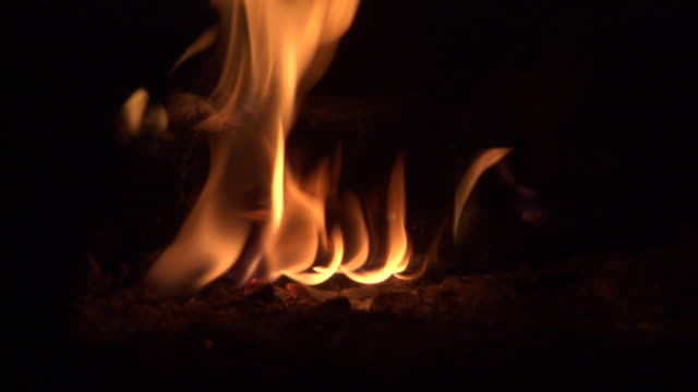 flames burn on savanna at night. available in hd. - coal stock videos & royalty-free footage