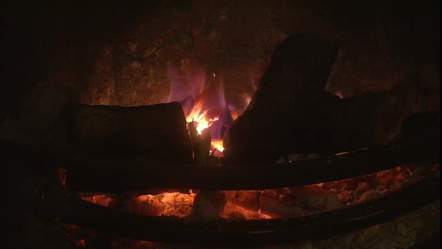 flames flicker as a log burns in a fireplace. - log stock videos & royalty-free footage