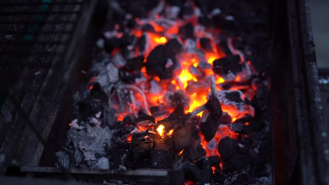 flames on a barbecue grill - coal stock videos & royalty-free footage