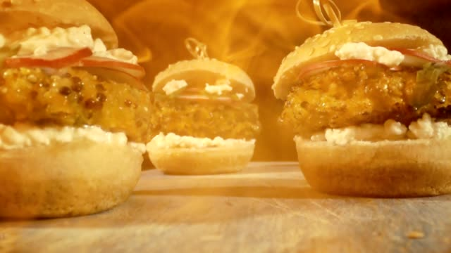 Flames over Veggie Burgers with Quinoa Pattie, Cottage Cheese, Radish and Arugula