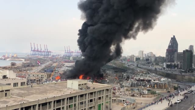 flames reappeared in lebanon's beirut port on thursday, sep. 10, after a large fire broke out in one of its warehouses. in a tweet, the lebanese army... - mtv1 stock videos & royalty-free footage