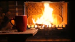 A flaming fireplace and a cup of tea. Home mood. Background