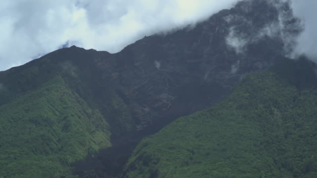 flank of volcano showing path of lava, manam, papua new guinea, april 2009 - papua new guinea stock videos & royalty-free footage