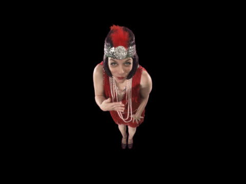 flapper dancing - this clip has an embedded alpha-channel - pre matted stock-videos und b-roll-filmmaterial