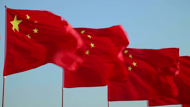 ls flapping chinese flags in xi'an, shaanxi, china - chinese flag stock videos and b-roll footage