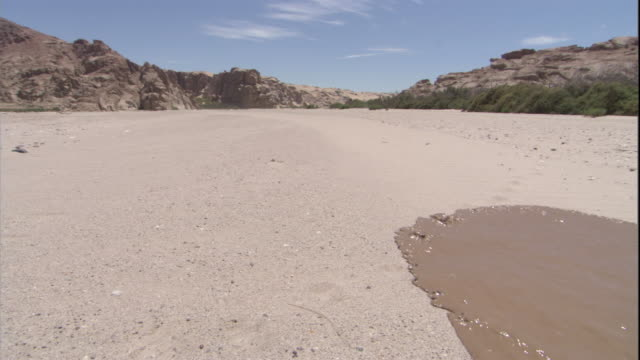 Flash flood water races over a dry river bed, Skeleton Coast, Namibia. Available in HD.