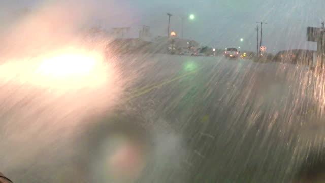 Flash Flooding & Torrential Rain On Roadway- Car POV