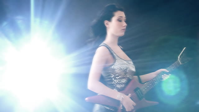 flash guitar girl - electric guitar stock videos and b-roll footage