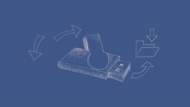 vidéos et rushes de mémoire flash usb sur fond imprimé bleu clip vidéo - pince à papier