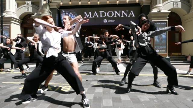 a flash mob of 20 madonna dancers announce that madonna is bringing her madame x tour to the uk with a residency at the palladium on may 13 2019 at... - flash mob stock videos and b-roll footage
