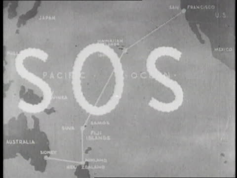SOS flashes over a map of Amelia Earhart's flight path across the Pacific Ocean