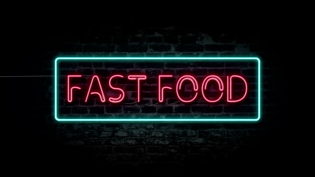 flashing fast food neon sign - brick wall stock videos & royalty-free footage