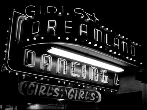 flashing, glittering neon marquee sign outside dreamland burlesque house, night: 'dreamland, girls, girls, dancing'. dreamland burlesque house on... - burlesque stock videos & royalty-free footage