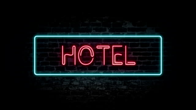Flashing Hotel neon sign