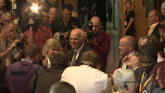 [flashing images] views of vince cable and deputy jo swinson with party members and journalists at the liberal democrat autumn party conference in... - bournemouth stock-videos und b-roll-filmmaterial