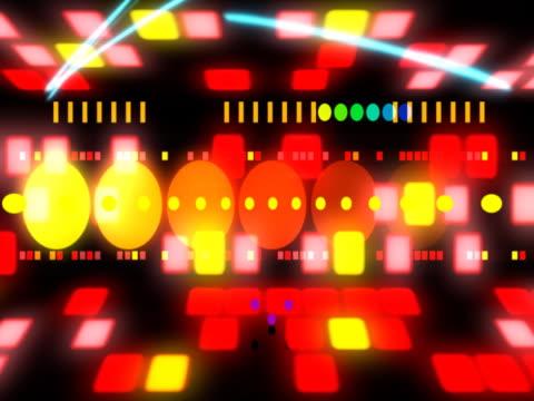 vídeos de stock e filmes b-roll de flashing multi coloured squares and ovals - multimédia