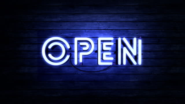 flashing neon sign endless loop - open - open stock videos & royalty-free footage