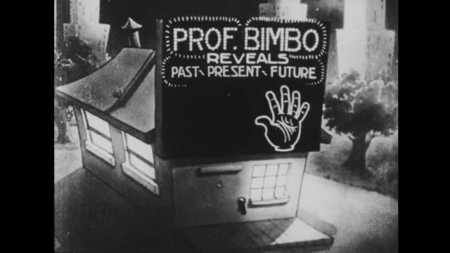 1933 flashing neon sign on house reads: prof. bimbo reveals past present future - fortune telling stock videos & royalty-free footage