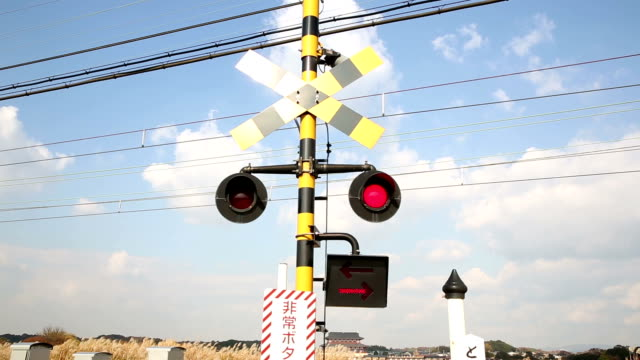 hd: flashing railroad signal - level crossing stock videos & royalty-free footage
