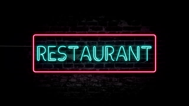 flashing restaurant neon sign - hanging sign stock videos and b-roll footage