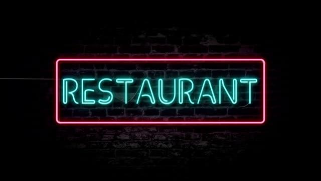 Blinkande restaurang neonskylt