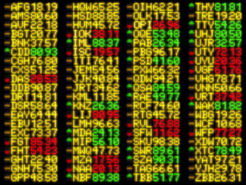 vídeos de stock, filmes e b-roll de flashing trade information on led display - ação da bolsa de valores