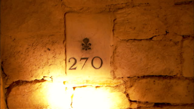 a flashlight illuminates a numbered marker in the paris sewer system. - fleur de lys stock videos & royalty-free footage