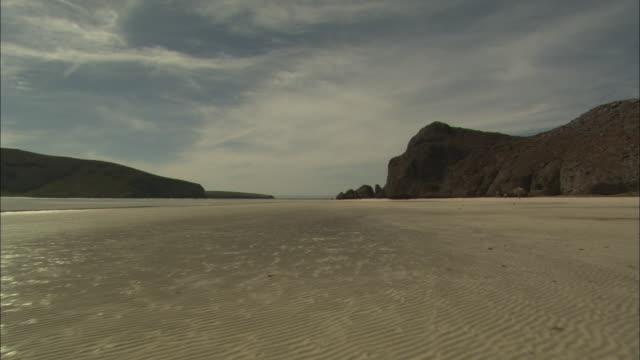 ws, ds, flat, deserted beach, baja california, mexico - baja california peninsula stock videos and b-roll footage