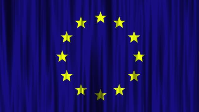 vídeos de stock e filmes b-roll de flat european union national flag (loopable) background - european union coin