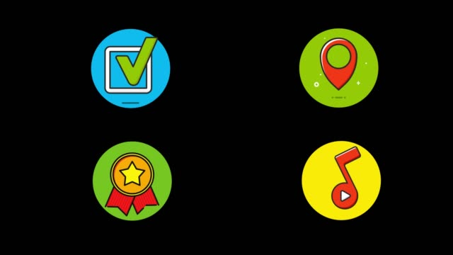 Flat Icon Set. Location, Music , Checkbox and Award. (Alpha Channel Apple Prores)